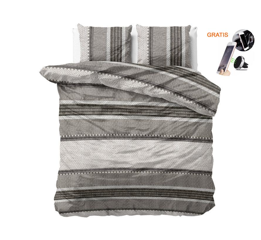 Dreamhouse River Stripe Taupe - Dekbedovertrek + GRATIS Magnetische Telefoonhouder