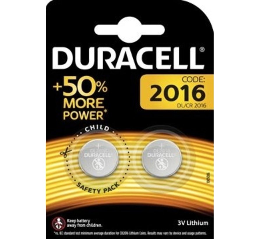 Duracell DL/CR2016 Knoopcelbatterijen - 2 stuks