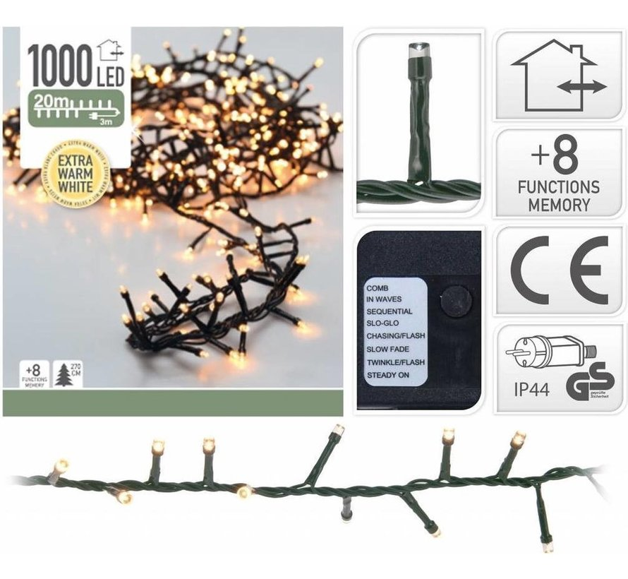 Nampook Kerstboomverlichting - 20 m - 1000 warm witte LEDs