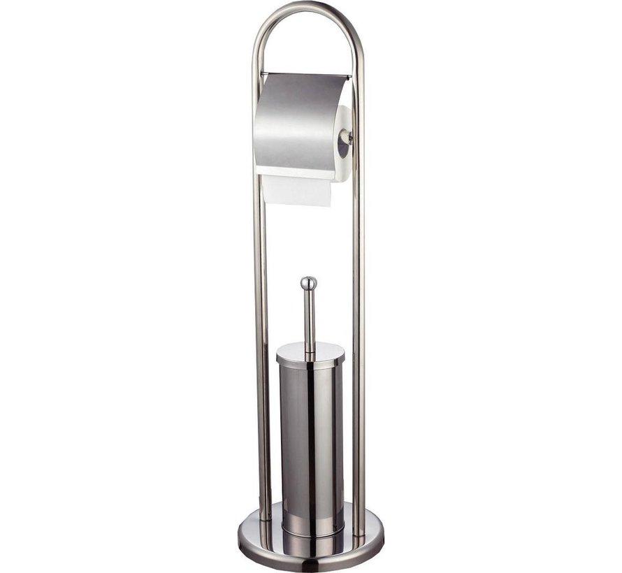 Toiletrolhouder & Toiletborstel met Houder | RVS | 20Øx78cm