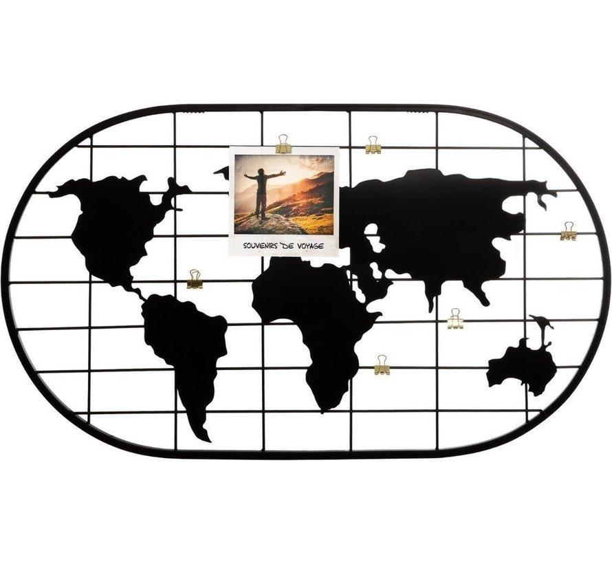 Foto wandrek wereld zwart metaal - gouden clip - 60x30 cm