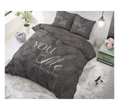 Sleeptime Sleeptime Love For You & Me - Dekbedovertrekset + kussenslopen 60x70 - Antraciet
