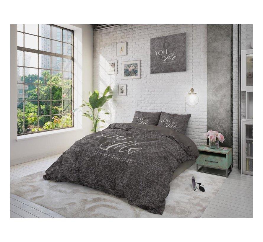 Sleeptime Love For You & Me - Dekbedovertrekset + kussenslopen 60x70 - Antraciet