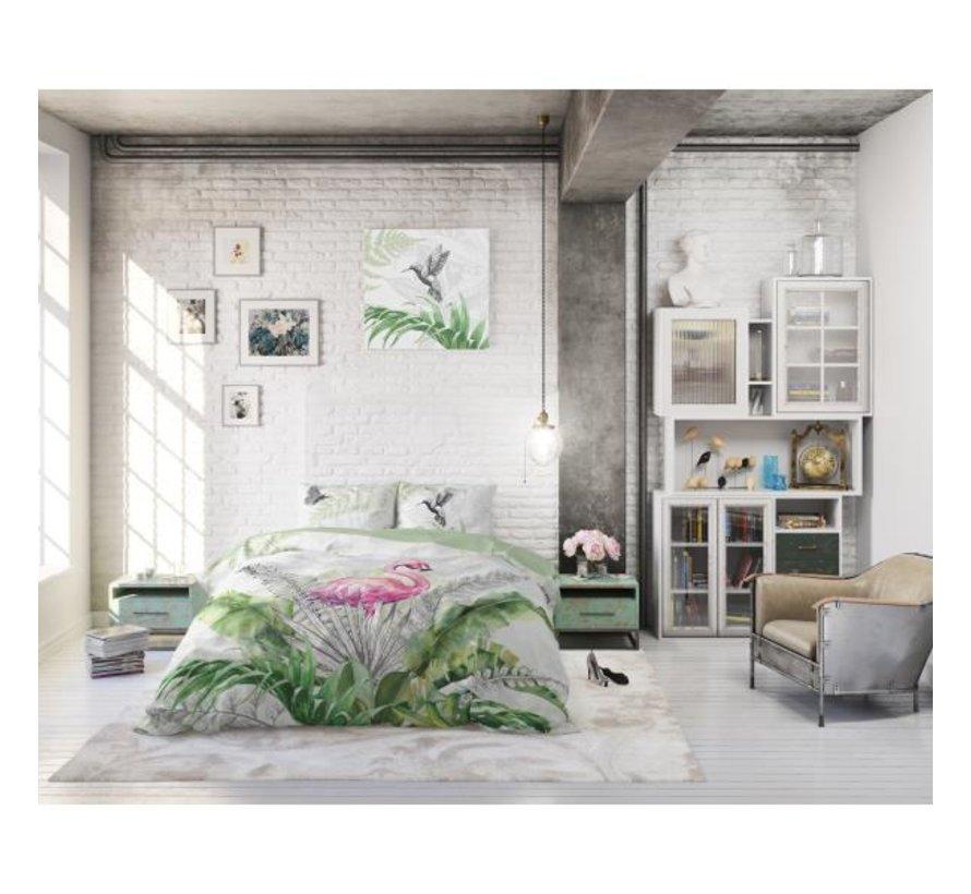 Dreamhouse Flamingo Splash - dekbedovertrek + Kussenslopen 60x70 cm