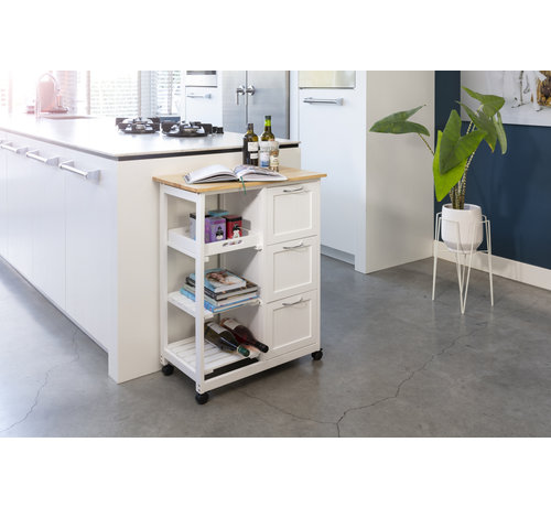 Lifa Living Moderne Keukentrolley op Wielen - Houten Keukenrek met Lades - 67 x 37 x 84 cm