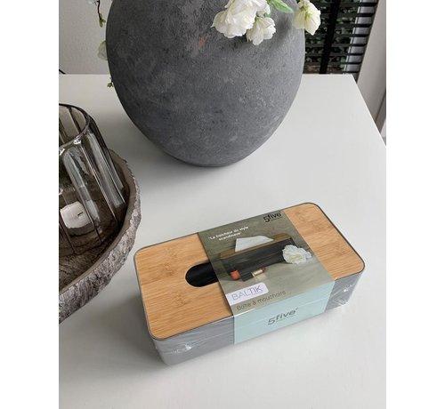 Five® Tissuedoos Bamboe - Zwart - Voor alle maten tissues