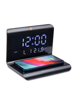 Dutch Originals Alarmklok met Draadloze Oplader | 5 in 1 - Klok, wekker, temperatuurmeter, kalender én oplader in één!