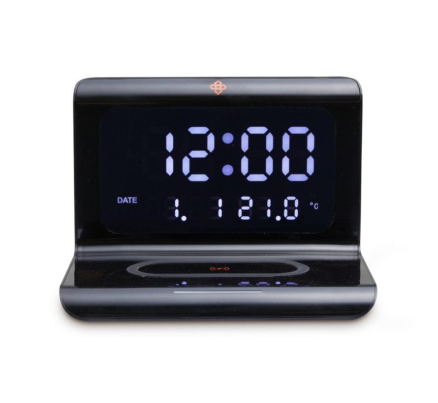 Alarmklok met Draadloze Oplader | 5 in 1 - Klok, wekker, temperatuurmeter, kalender én oplader in één!
