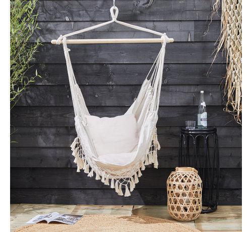 909 Outdoor Hangstoel met Kussens voor Binnen & Buiten - Ecru of Grijs