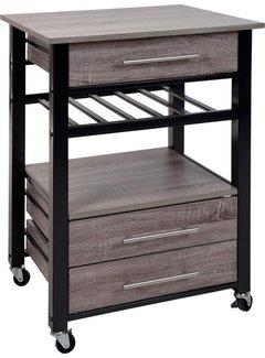 Luxe Keukentrolley - metaal en hout 60x50x84,5 cm