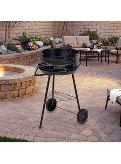 Barbecue - BBQ - Rond - Half open - Verrijdbaar - 41,5x70x41,5cm - Zwart grijs