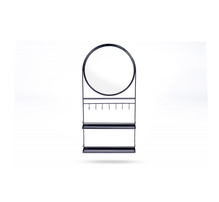 Modern Wandspiegel Rond – Metaal – Zwart - 74.5 x 36 x 80 cm
