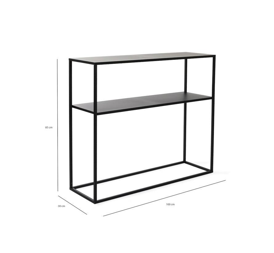 Modern Metalen Wandtafel Chartres - Zwart - 100 x 30 x 85 cm