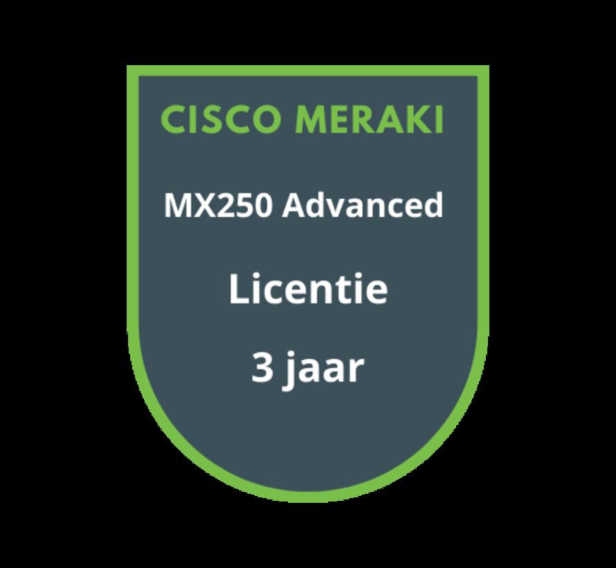 Cisco Meraki MX250 Advanced Security Licentie 3 jaar