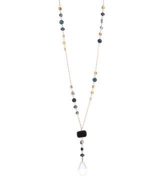 LIZAS ketting 26610 (G/M) zwart/crystal