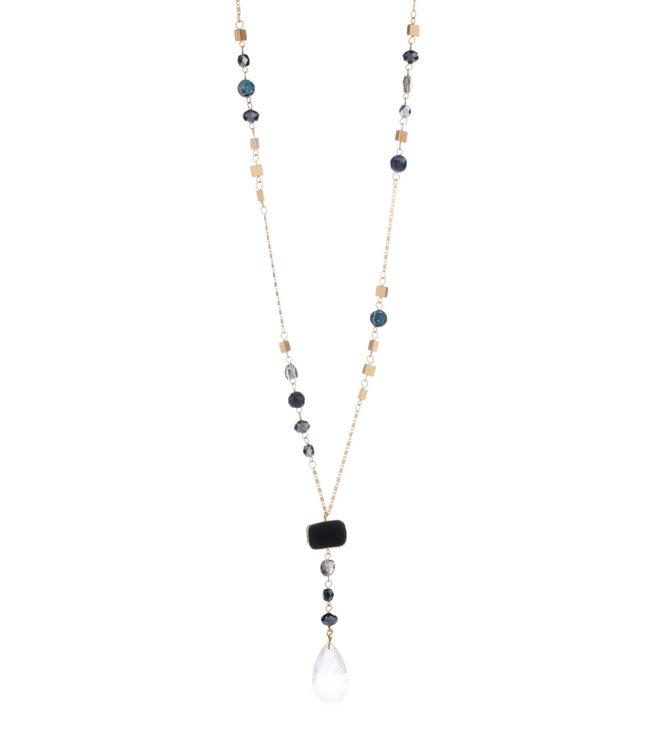 LIZAS LIZAS - ketting 26610 (G/M) zwart/crystal