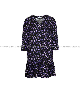 LIV THE LABEL LIV THE LABEL  - ETTORE - dress with V neck and frill hem - purple flowers