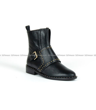 MARCH23 Joanne A3834-Black Leather + gold