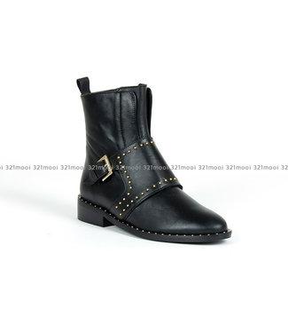 MARCH23 MARCH23 - enkellaarsjes - Joanne A3834-Black Leather + gold