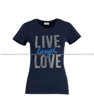 LIU JO LIU JO - JERSEY CO/EA+LIVE LAUGH L  - T-SHIRT - NIGHT - F69253-J5003