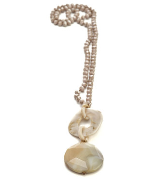 TITTO BUXTON - long faceted stone necklace w. pendants links & stone - col. salmon