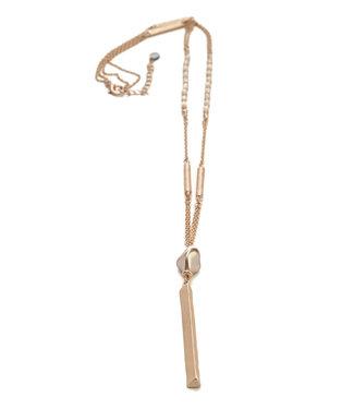 TITTO BRIGG - long metallic necklace w. pendant pearl shell & metallic bar - col. pink