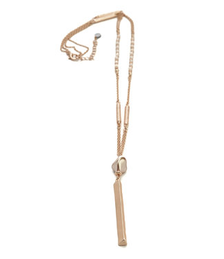 TITTO TITT0 - BRIGG - long metallic necklace w. pendant pearl shell & metallic bar - col. pink