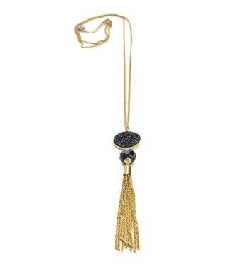 TITTO BRIDPORT - long metallic necklace w. stone & amulet & flosh - col. black