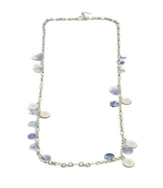 TITTO BILSTON - long alloy necklace with alloy and jelly beads - col. silver