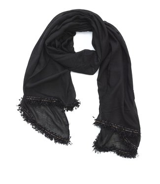 TITTO STONE - SCARF - plain with ribbon - 180x70 - col. black