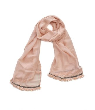 TITTO STONE - SCARF - plain with ribbon - 180x70 - col. pink