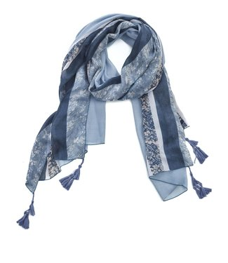 TITTO ROMFORD - SCARF - striped with tessels - 100% viscose -180x90 - col. blue