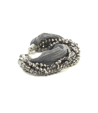 TITTO EVESHAM - bracelet glitter textile & faceted stones - col. grey
