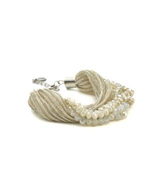 TITTO EVESHAM - bracelet glitter textile & faceted stones - col. off white