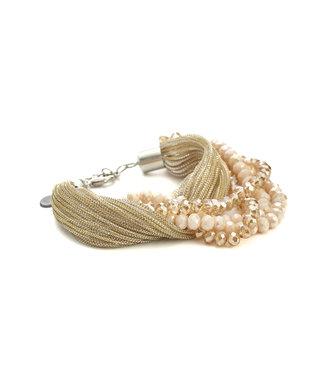 TITTO EVESHAM - bracelet glitter textile & faceted stones - col. salmon