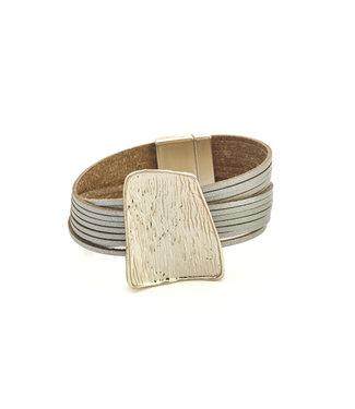 TITTO TITTO - EYE - leather bracelet with metallic square ornament - col. grey