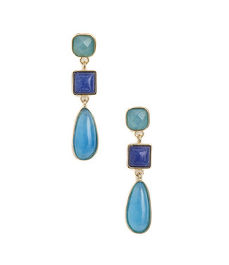 TITTO MAIDSTONE - earrings coloured stone hanger - col. blue
