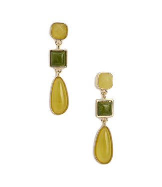 TITTO MAIDSTONE - earrings coloured stone hanger - col. green