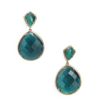 TITTO TITTO NESTON - oorbellen oval faceted stone w. triangle stone pendant - col. green