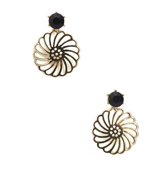 TITTO HEYWOOD - earrings faceted stone with metallic flower pendant - col. black