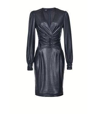 PINKO PINKO - PINKO kleed - leather look midi length dress 1g150dy6bf