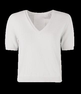 MARCH23 March23 t-shirt - AJOUR T SHIRT  - BO_ZAMORA - COTTON/SILK ECRU