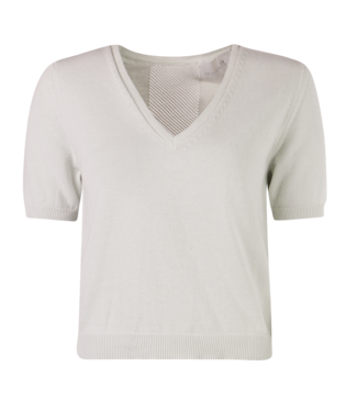 MARCH23 March 23 t-shirt - AJOUR T SHIRT  - BO_ZAMORA - COTTON/SILK MINT