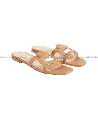 MARCH23 MARCH23 schoenen - slippers flat mule  - Luiza - Camel Leather