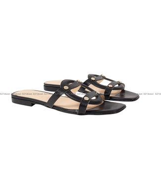 MARCH23 MARCH23 schoenen - slippers flat mule  - Luiza - Black Leather