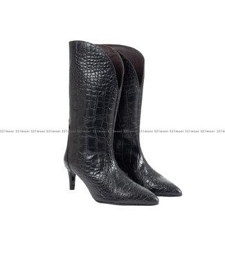 MARCH23 MARCH23 laarzen - Influencer croco - Black Croco
