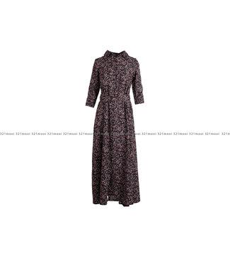 AC by Annelien Coorevits AC by Annelien Coorevits kledij kleed ACDRESS10013 - lang kleed leaf print zwart