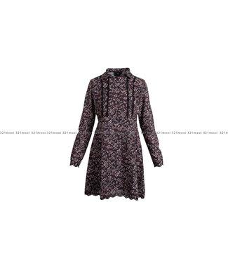 AC by Annelien Coorevits AC by Annelien Coorevits kledij kleed ACDRESS10011 - kort kleedje met afwerking kant leaf print zwart