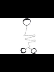 Easylove Kunstleren Halsband met Handboeien  met Gespsluiting
