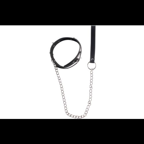 Easylove Kunstlederen Halsband met Schakel Riem Verstelbaar